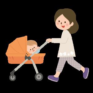 赤ちゃんを連れている女性