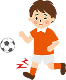 スポーツによる怪我をした男の子のイラスト